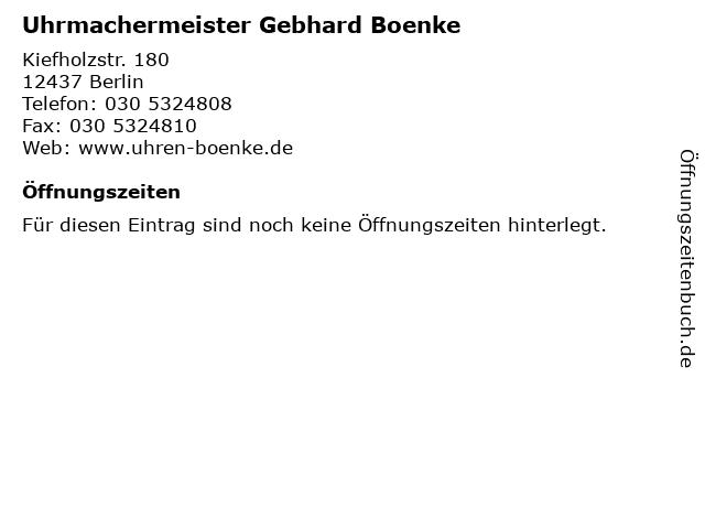 Uhrmachermeister Gebhard Boenke in Berlin: Adresse und Öffnungszeiten