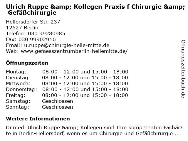 Ruppe, Dr. med. Ulrich & Schulze, Kristof in Berlin: Adresse und Öffnungszeiten