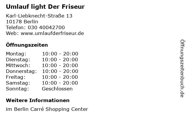 Umlauf light Der Friseur in Berlin: Adresse und Öffnungszeiten