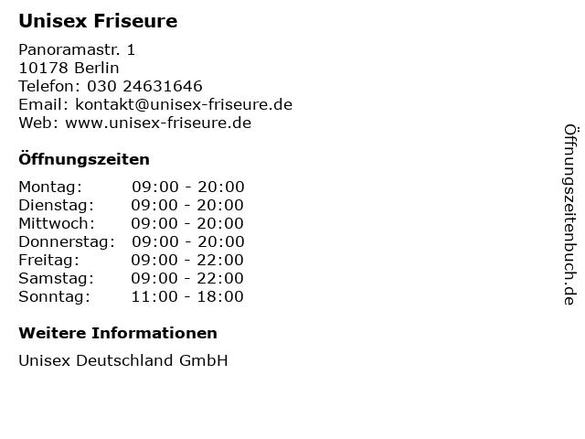 Unisex Friseure in Berlin: Adresse und Öffnungszeiten