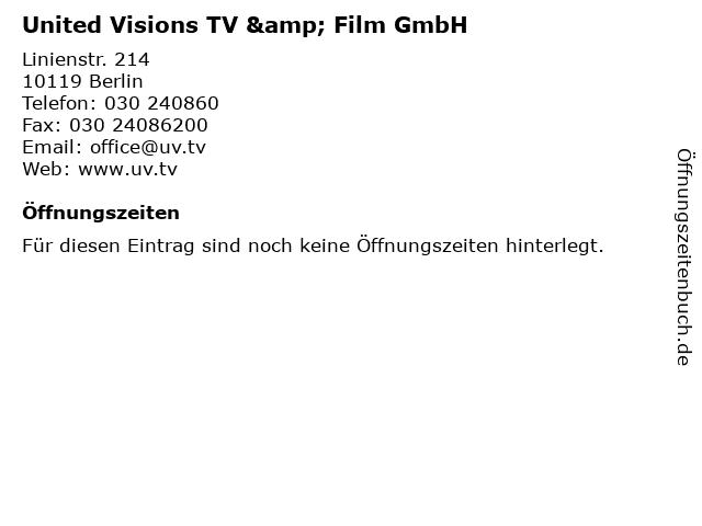 United Visions TV & Film GmbH in Berlin: Adresse und Öffnungszeiten
