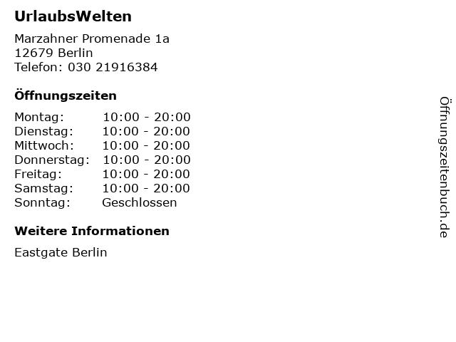 UrlaubsWelten in Berlin: Adresse und Öffnungszeiten