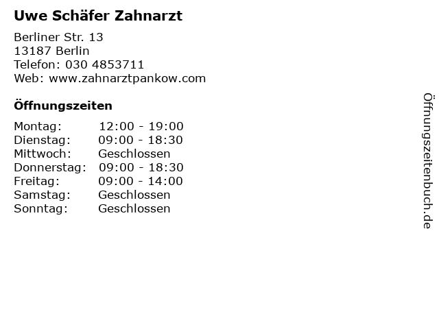 Uwe Schäfer Zahnarzt in Berlin: Adresse und Öffnungszeiten