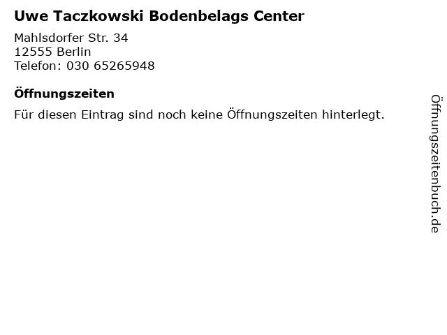 Uwe Taczkowski Bodenbelags Center in Berlin: Adresse und Öffnungszeiten