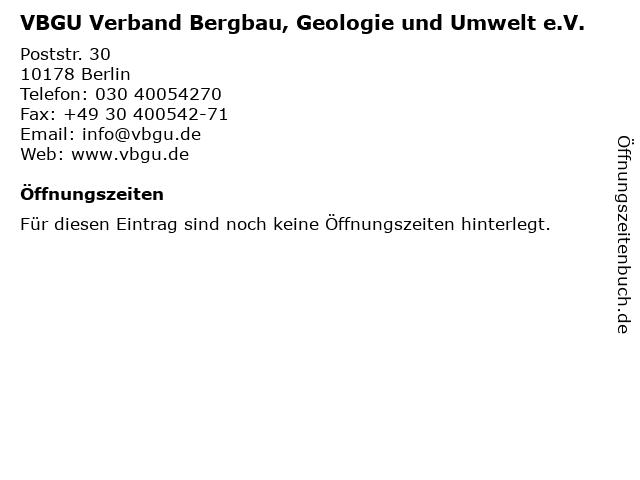 VBGU Verband Bergbau, Geologie und Umwelt e.V. in Berlin: Adresse und Öffnungszeiten