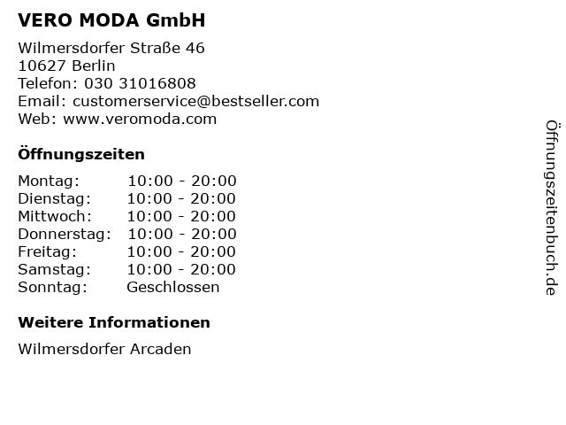 VERO MODA GmbH in Berlin: Adresse und Öffnungszeiten