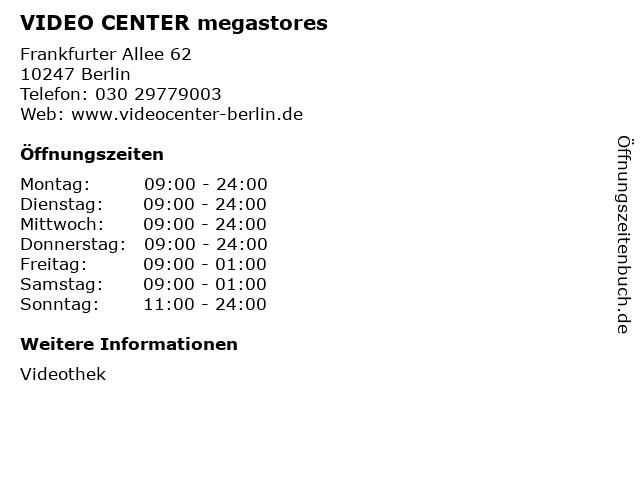 ᐅ Offnungszeiten Video Center Megastores Frankfurter Allee 62