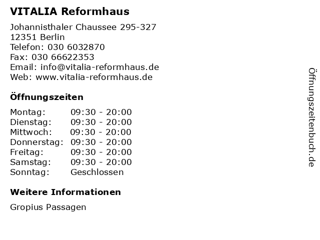 VITALIA Reformhaus in Berlin: Adresse und Öffnungszeiten