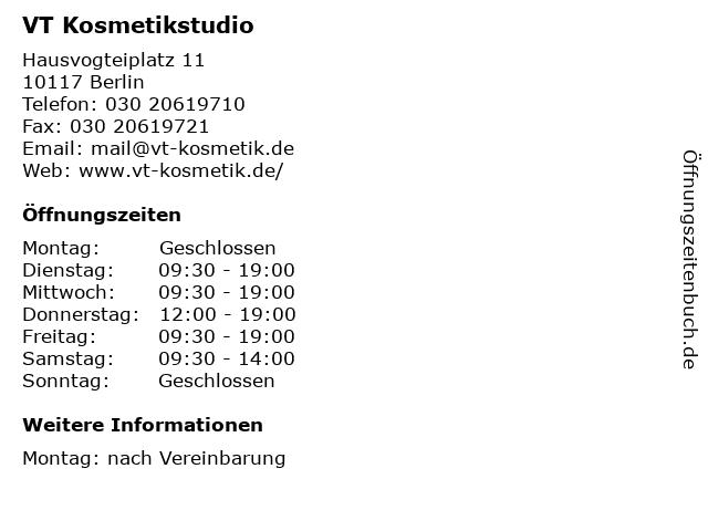 VT Kosmetikstudio in Berlin: Adresse und Öffnungszeiten