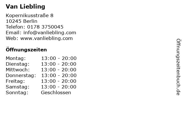 Van Liebling in Berlin: Adresse und Öffnungszeiten
