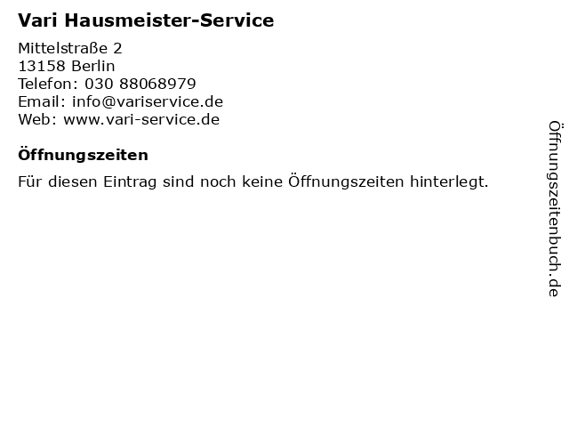 Vari Hausmeister-Service in Berlin: Adresse und Öffnungszeiten