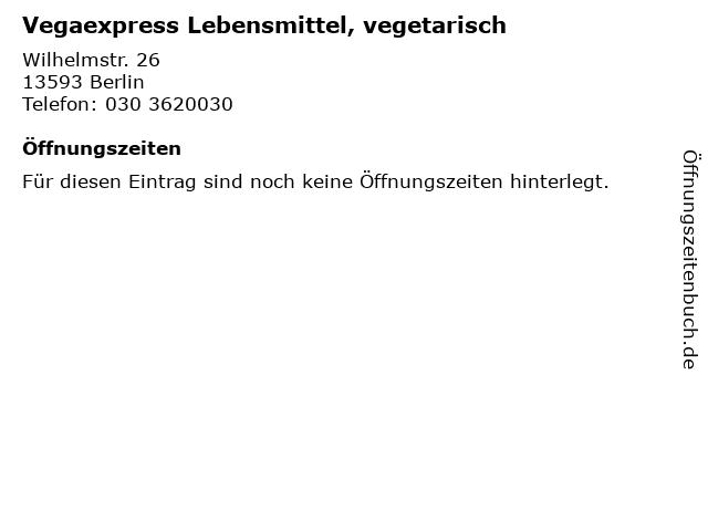 Vegaexpress Lebensmittel, vegetarisch in Berlin: Adresse und Öffnungszeiten