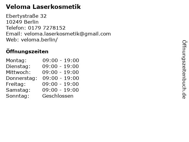 Veloma Laserkosmetik in Berlin: Adresse und Öffnungszeiten