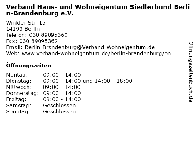 Verband Haus- und Wohneigentum Siedlerbund Berlin-Brandenburg e.V. in Berlin: Adresse und Öffnungszeiten