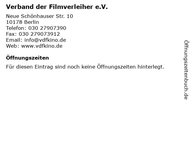 Verband der Filmverleiher e.V. in Berlin: Adresse und Öffnungszeiten