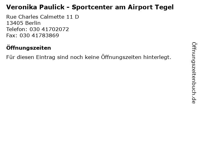 Veronika Paulick - Sportcenter am Airport Tegel in Berlin: Adresse und Öffnungszeiten