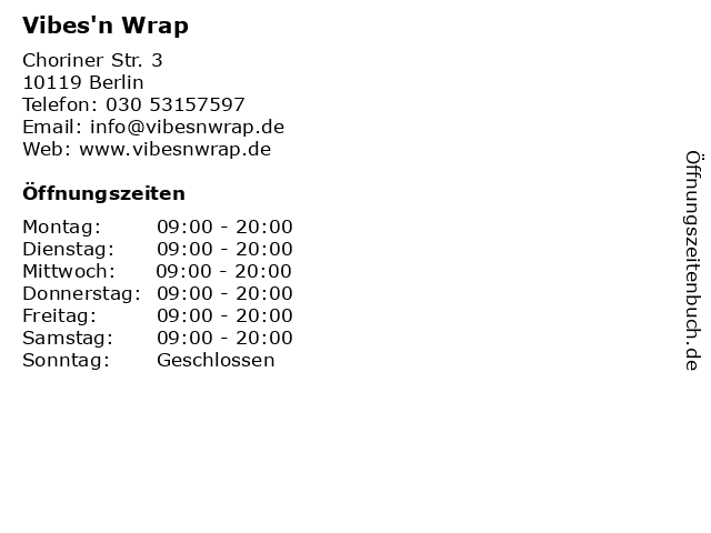 Vibes'n Wrap in Berlin: Adresse und Öffnungszeiten