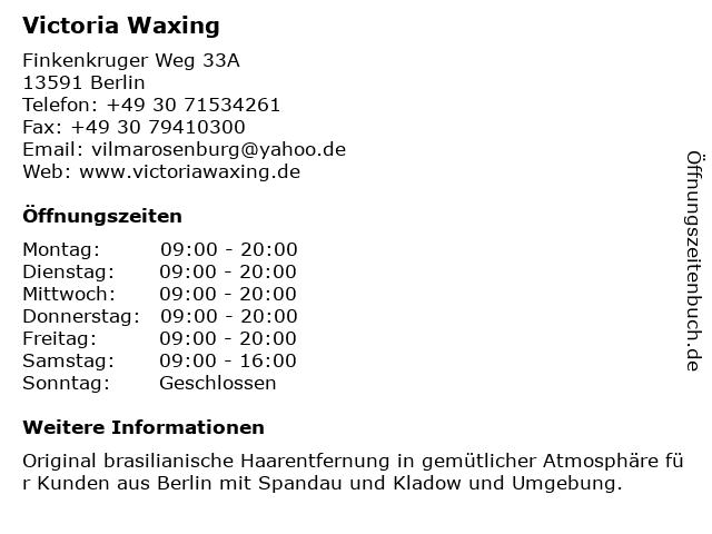 Victoria Waxing in Berlin: Adresse und Öffnungszeiten