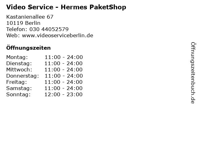 Video Service - Hermes PaketShop in Berlin: Adresse und Öffnungszeiten