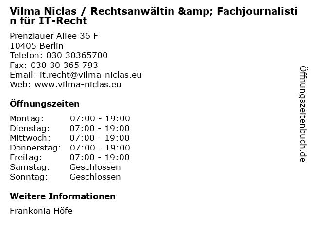 Vilma Niclas / Rechtsanwältin & Fachjournalistin für IT-Recht in Berlin: Adresse und Öffnungszeiten