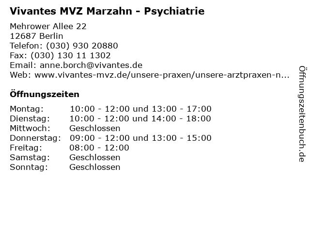 Vivantes MVZ Marzahn - Psychiatrie in Berlin: Adresse und Öffnungszeiten