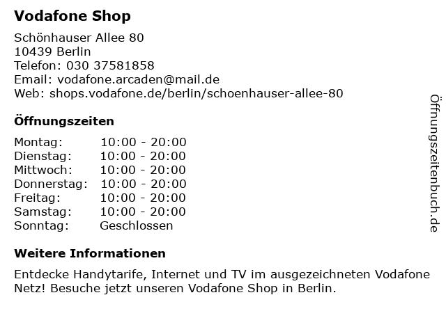 Vodafone Shop in Berlin: Adresse und Öffnungszeiten