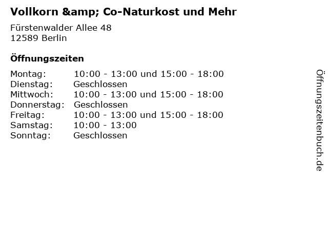Vollkorn & Co-Naturkost und Mehr in Berlin: Adresse und Öffnungszeiten