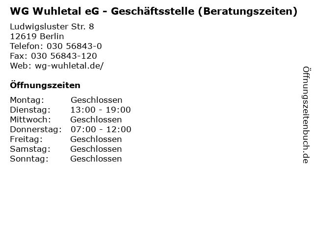 WG Wuhletal eG - Geschäftsstelle (Beratungszeiten) in Berlin: Adresse und Öffnungszeiten