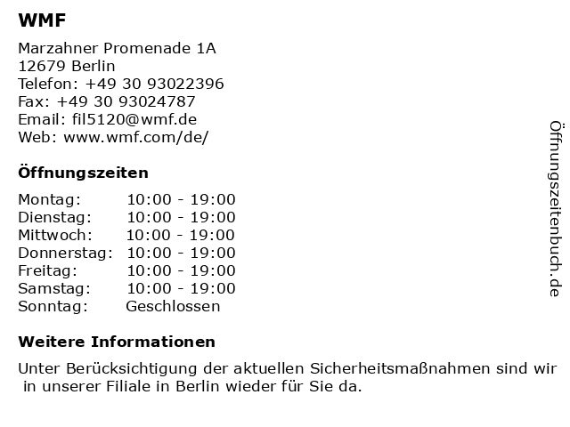WMF Berlin - EKZ Eastgate Berlin in Berlin: Adresse und Öffnungszeiten