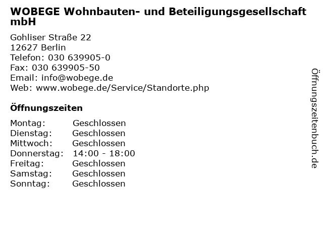 WOBEGE Wohnbauten- und Beteiligungsgesellschaft mbH in Berlin: Adresse und Öffnungszeiten