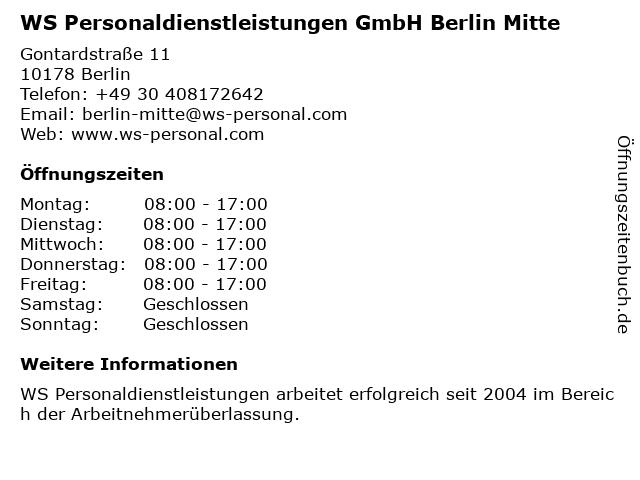WS Personaldienstleistungen GmbH Berlin Mitte in Berlin: Adresse und Öffnungszeiten