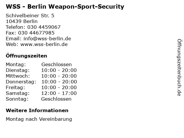 WSS - Berlin Weapon-Sport-Security in Berlin: Adresse und Öffnungszeiten