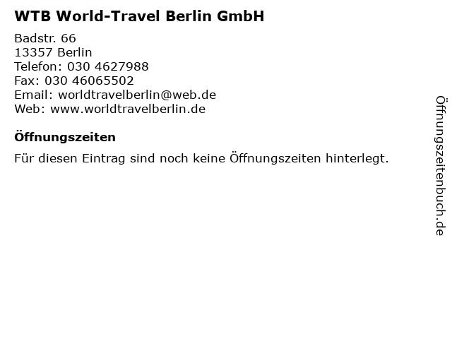 WTB World-Travel Berlin GmbH in Berlin: Adresse und Öffnungszeiten