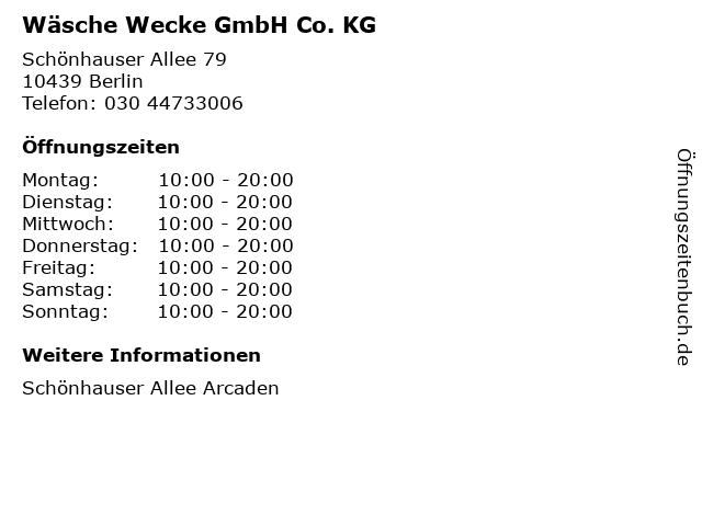 Wäsche Wecke GmbH Co. KG in Berlin: Adresse und Öffnungszeiten