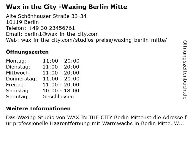 Wax in the City -Waxing Berlin Mitte in Berlin: Adresse und Öffnungszeiten
