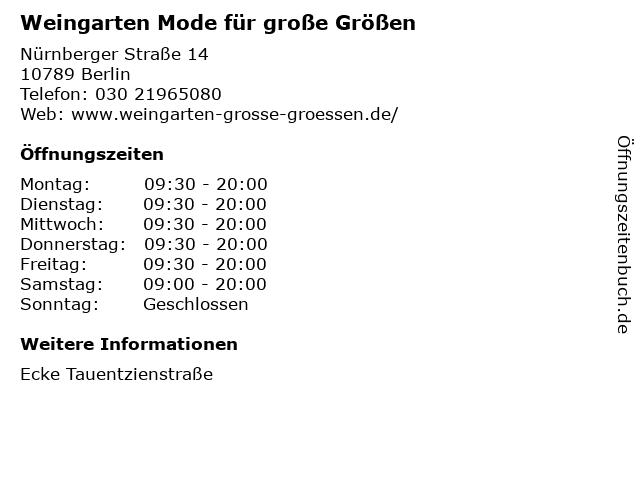 """f9a5dc024a631d ᐅ Öffnungszeiten """"Weingarten Mode für große Größen"""""""