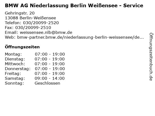 BMW AG Niederlassung Berlin Weißensee - Service in Berlin-Weißensee: Adresse und Öffnungszeiten