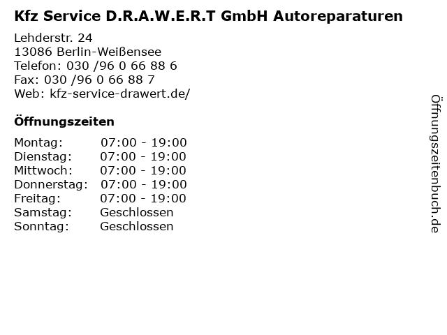 Kfz Service D.R.A.W.E.R.T GmbH Autoreparaturen in Berlin-Weißensee: Adresse und Öffnungszeiten