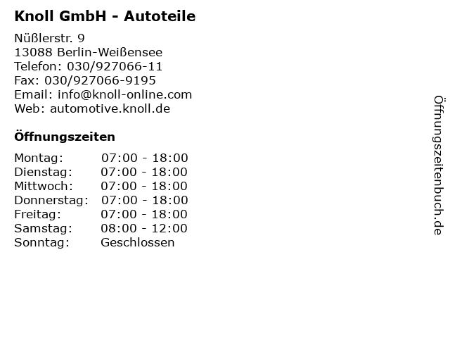 Knoll GmbH - Autoteile in Berlin-Weißensee: Adresse und Öffnungszeiten