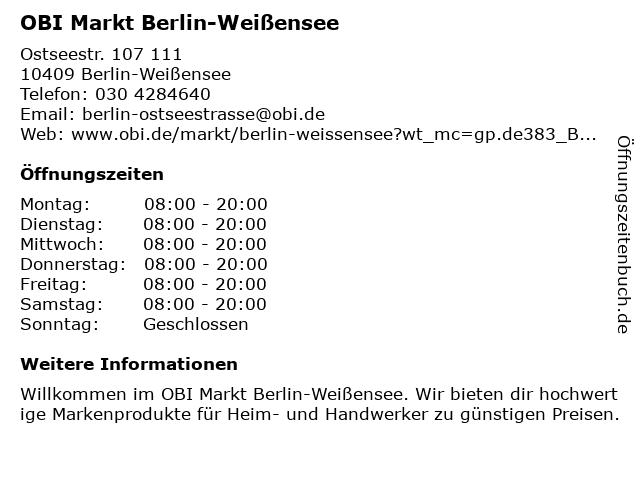OBI Markt Berlin-Weißensee in Berlin-Weißensee: Adresse und Öffnungszeiten