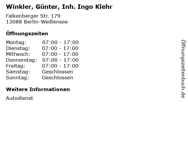 Winkler, Günter, Inh. Ingo Klehr in Berlin-Weißensee: Adresse und Öffnungszeiten