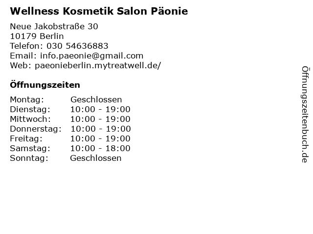 Wellness Kosmetik Salon Päonie in Berlin: Adresse und Öffnungszeiten