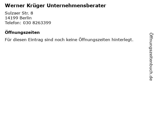 Werner Krüger Unternehmensberater in Berlin: Adresse und Öffnungszeiten