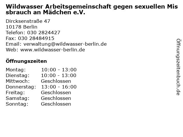 Wildwasser Arbeitsgemeinschaft gegen sexuellen Missbrauch an Mädchen e.V. in Berlin: Adresse und Öffnungszeiten