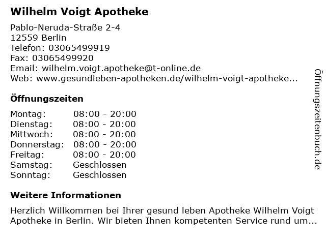 Wilhelm Voigt Apotheke in Berlin: Adresse und Öffnungszeiten