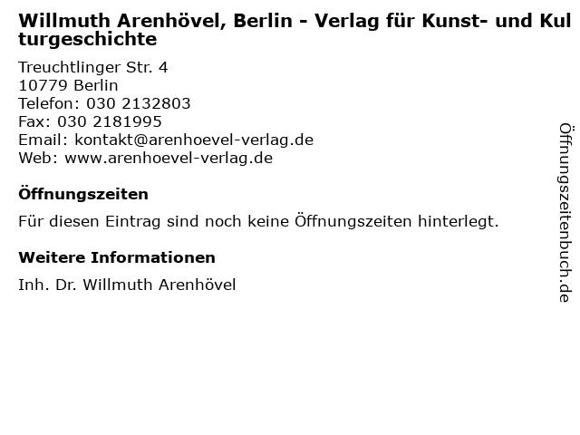 Willmuth Arenhövel, Berlin - Verlag für Kunst- und Kulturgeschichte in Berlin: Adresse und Öffnungszeiten
