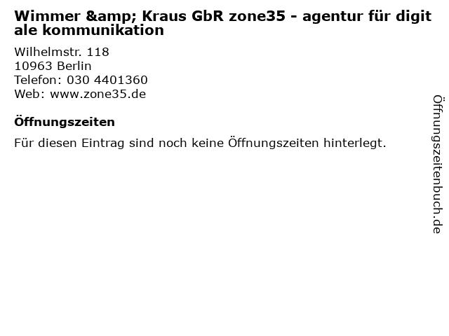 Wimmer & Kraus GbR zone35 - agentur für digitale kommunikation in Berlin: Adresse und Öffnungszeiten