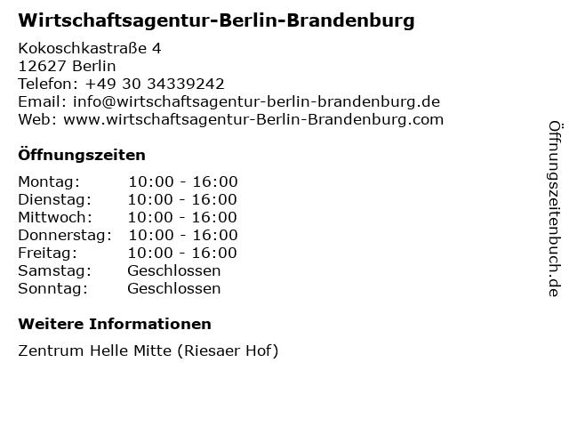 Wirtschaftsagentur-Berlin-Brandenburg in Berlin: Adresse und Öffnungszeiten
