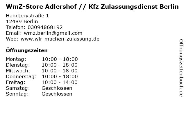 WmZ-Store Adlershof // Kfz Zulassungsdienst Berlin in Berlin: Adresse und Öffnungszeiten