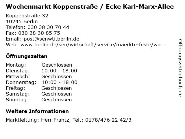 Wochenmarkt Koppenstraße / Ecke Karl-Marx-Allee in Berlin: Adresse und Öffnungszeiten